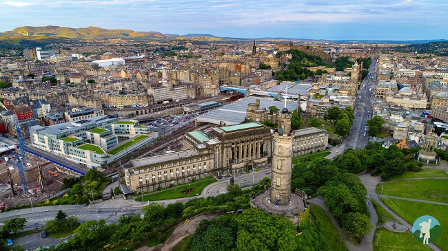 edinburgh outdoor activities calton hill above drone