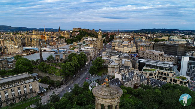 calton hill drone aerial edinburgh things to do