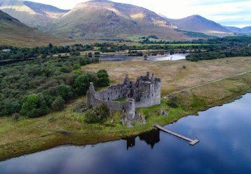 kilchurn castle drone argyll scotland