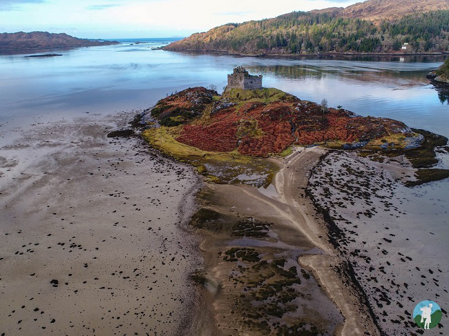 castle tioram drone campervan hire scotland