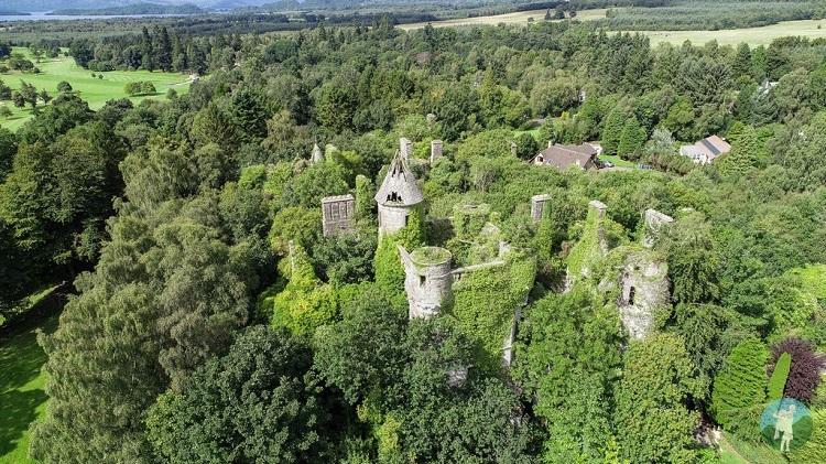 drone image buchanan castle