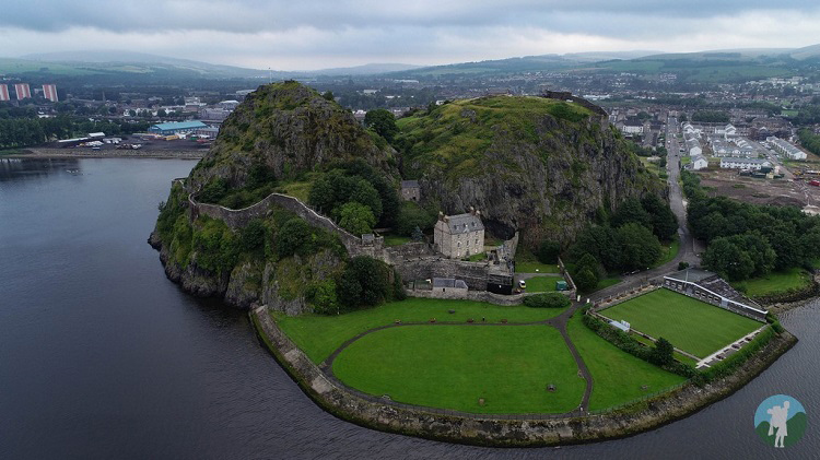 dumbarton castle rock drone