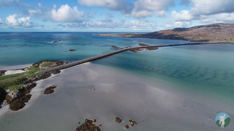 eriskay causeway drone west coast scotland holidays